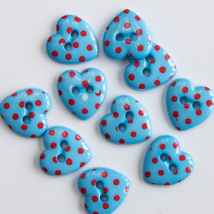 Pack of 10 - 15mm wide Polka Dot Heart Buttons