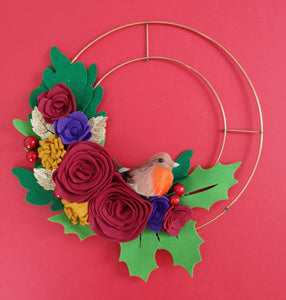 Winter Felt Flower Wreath