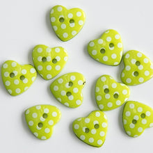 Load image into Gallery viewer, Pack of 10 - 15mm wide Polka Dot Heart Buttons