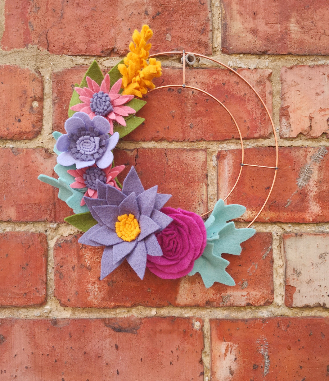 Autumn Felt Flower Wreath
