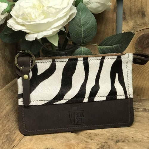 Two tone animal print coin purse
