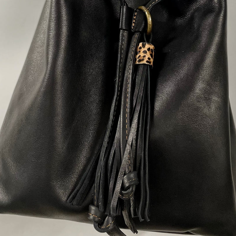 Black Full Grain Leather Bucket Bag
