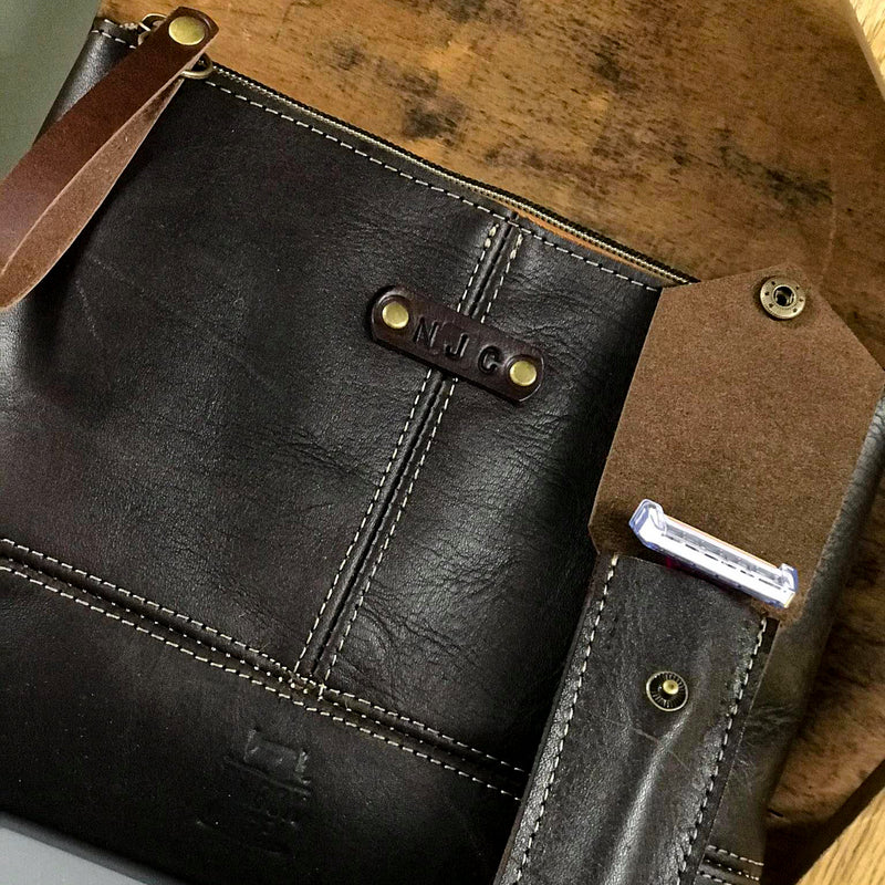 Luxury Full Grain  Brown Leather Wash Bag