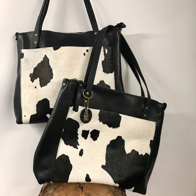 Large Leather Tote Bag with Cow Print Pocket