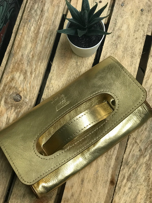 Metallic Grab Handled Leather Clutch