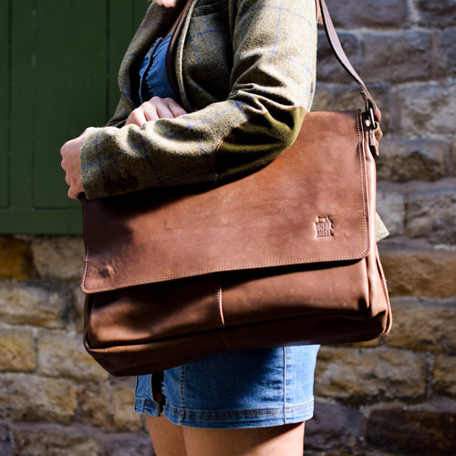 Natural Leather Messenger Bag
