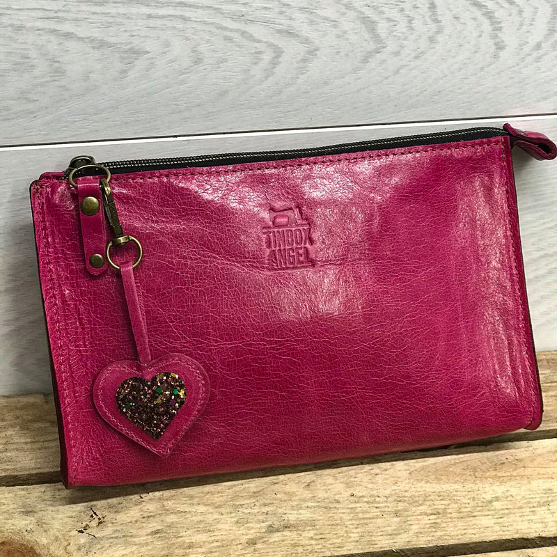 Leather Makeup Clutch Bag