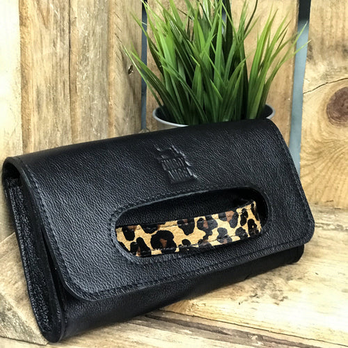 Black Leather Grab Clutch with Animal Print Strap