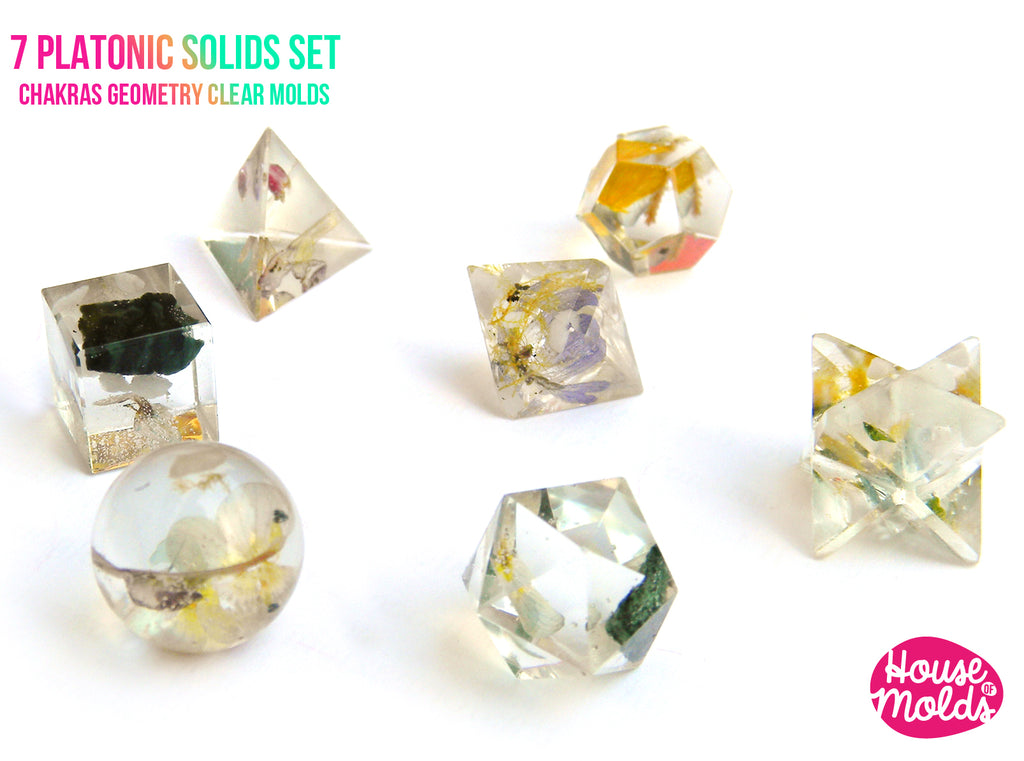7 Platonic Solids Set Of  Clear Silicone Molds - HOUSE OF MOLDS-7 Chakra geometry set of 7  molds for resin,super shiny surface