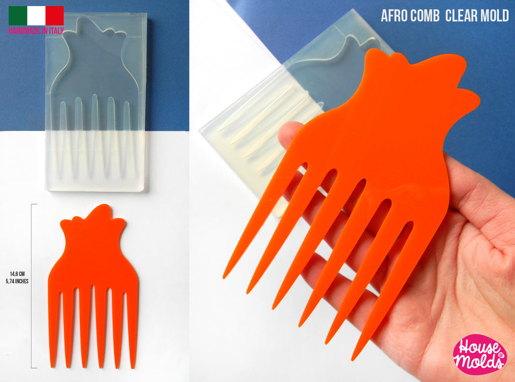 AFRO COMB #3 Clear mold 14,6 cm x 8 cm, super glossy afro pick , curly hair comb mold - HOUSE-OF-MOLDS