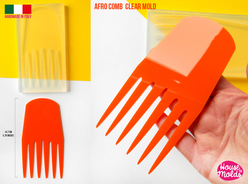 AFRO COMB #1 Clear mold 14,7 cm x 7,5  cm -  super glossy afro pick , curly hair comb mold - HOUSE-OF-MOLDS