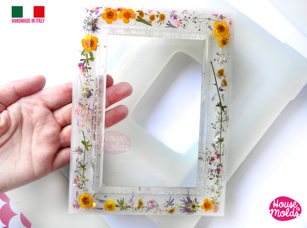 "BIG Smooth Photo Frame Clear Mold - make your custom rectangular  photo frame-15 cm x 20 cm - 3,93"" x 7,87""-super glossy resin reproductions"