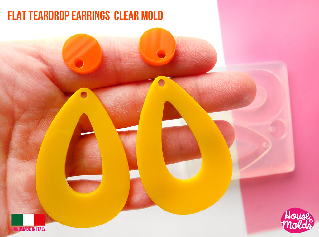 *READY TO SHIP *Flat Teardrop earrings clear silicone mold-60s earrings Drops Mold,earrings 59 mm x 38 mm 2 mm thickness-super shiny results