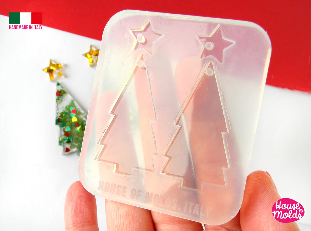 Christmas Tree earrings Set Clear Mold , Premade Holes on top , tree measurements 47 x 25 mm thickness 3 mm super shiny - house of molds - Italy
