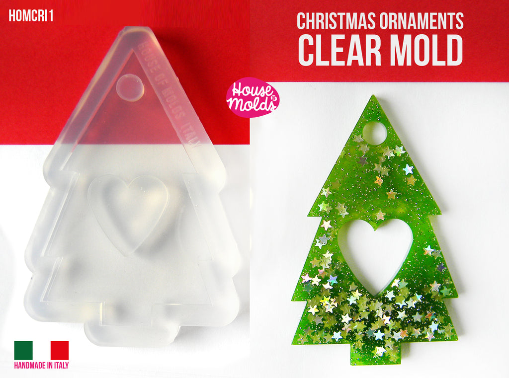Christmas Ornament TREE SHAPE Clear Mold , flat tree 70 x 47 mm 4 mm thickness , premade hole on top - super shiny - house of molds italy