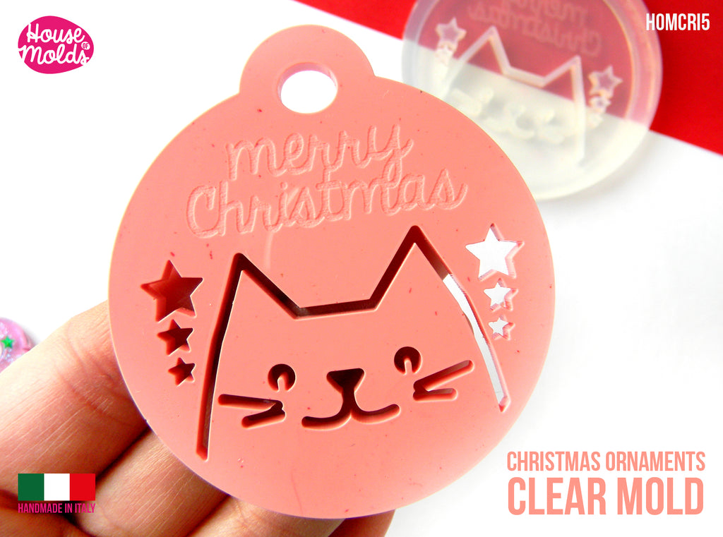 Christmas Cute Cat Flat Ball Clear Mold , 63 x 70 mm 4 mm thickness , MERRY CHRISTMAS engraved super shiny - house of molds Italy