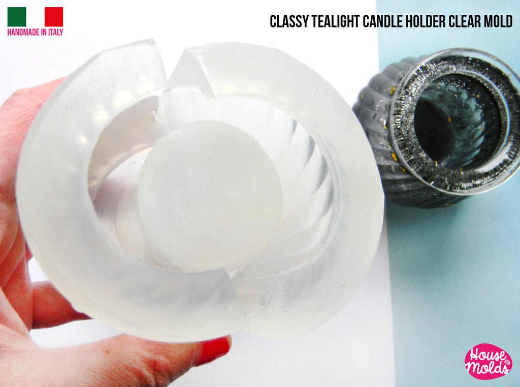 Classy Tea Light Candleholder Clear Mold - tiny plant vase mold -76 mm diameter x 64 mm tall-super glossy resin reproduction