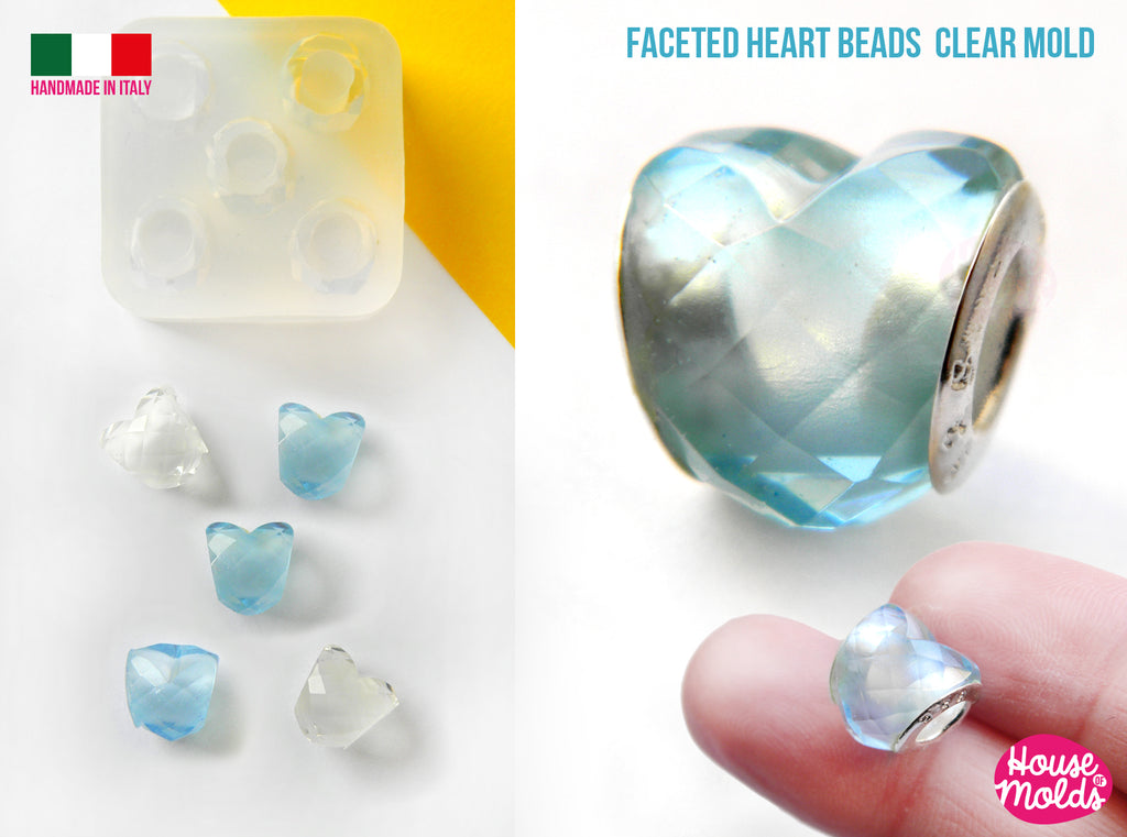 FACETED HEARTS DRILLED BEAD MOLD 5 CAVITIES heart beads 11 x 10 mm inner hole 5,8 mm  House Of Molds