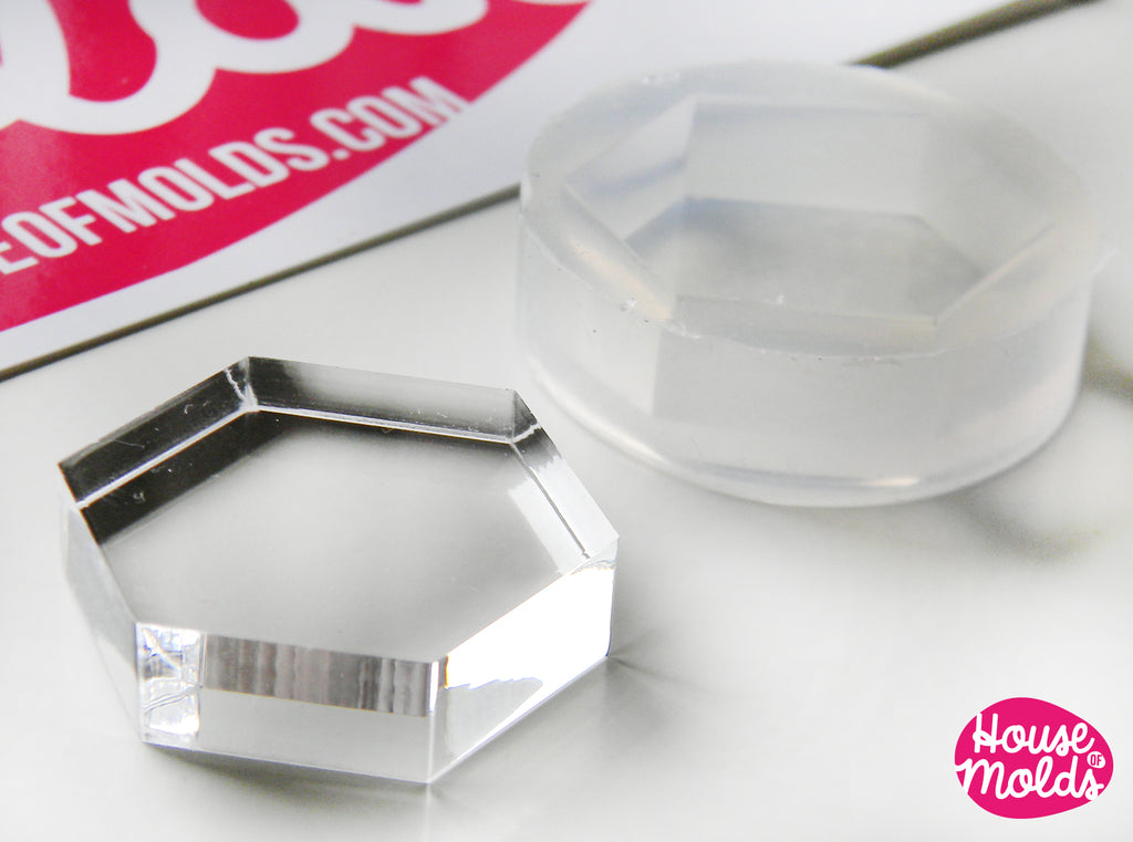 Hexagon Clear Mold 25 mm x 29 mm  ,Regular Hexagon transparent Mold  to make resin  earrings or pendants-very shiny surface easy to use