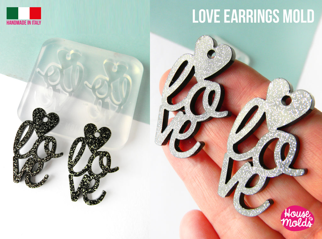 Love earrings Clear Molds, Premade Holes on top , measurements 42x 27 mm thickness 2 mm super shiny - house of molds -made in italy