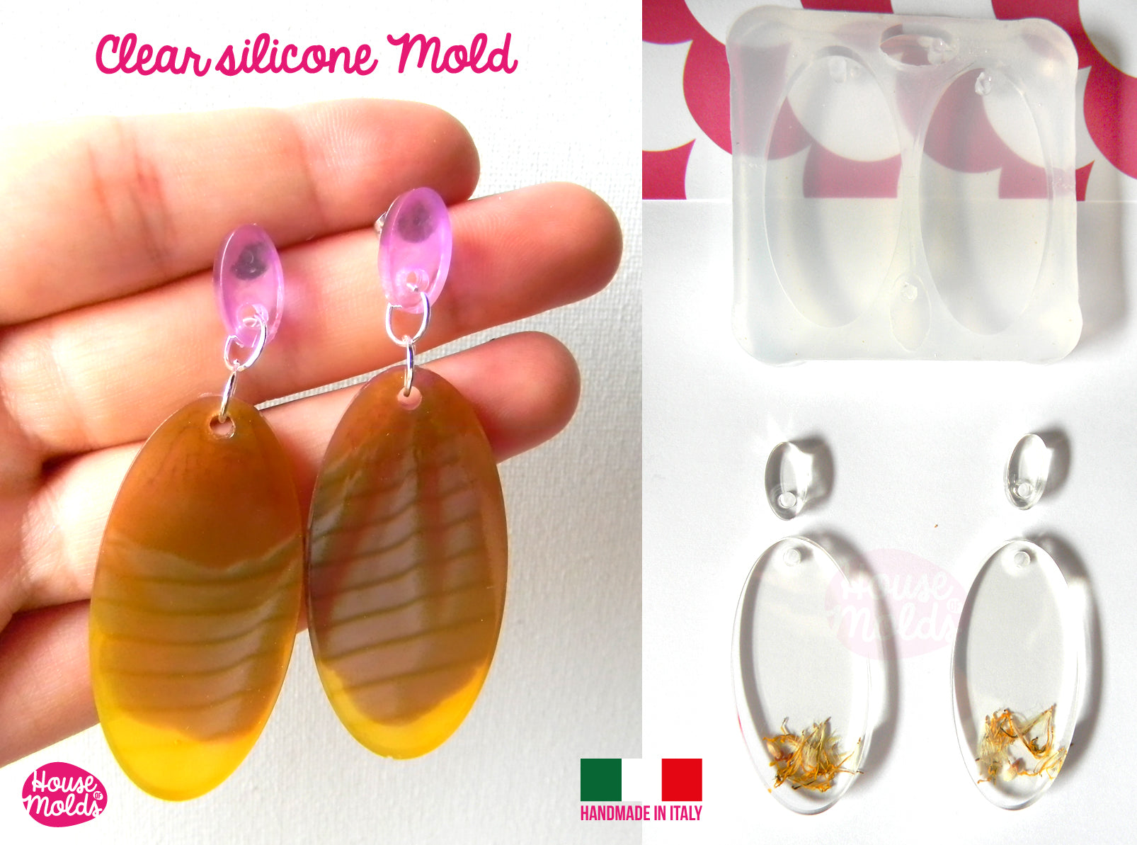 premade hole on top Clear  Silicone Mold Oval Flat Earring Set with 4 cavityes perfect for any resin creations!