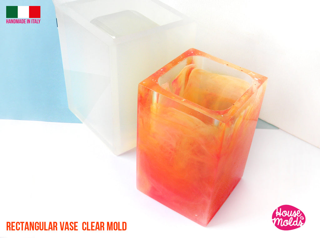 RECTANGULAR VASE Clear mold 11,2 cm x 7,3 cm base , super glossy toothbrush pot or vase HOUSE OF MOLDS 2021