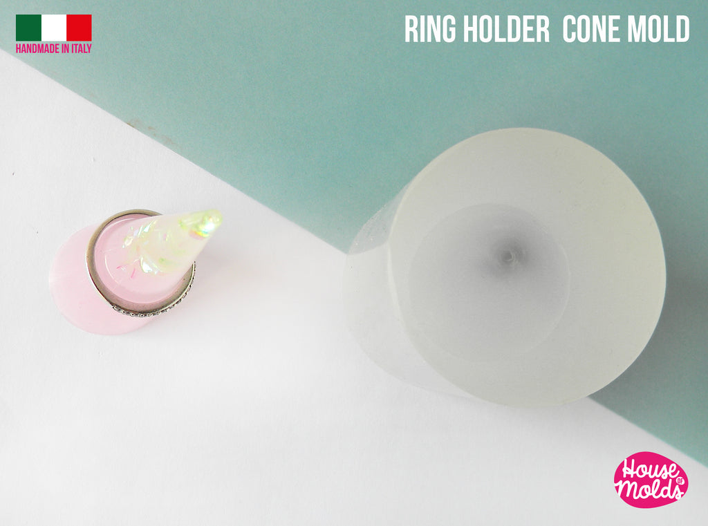 RINGS HOLDER CONE Clear Molds - cone 61 mm height x 25 base diameter - free standing - super glossy resin reproductions -house of molds