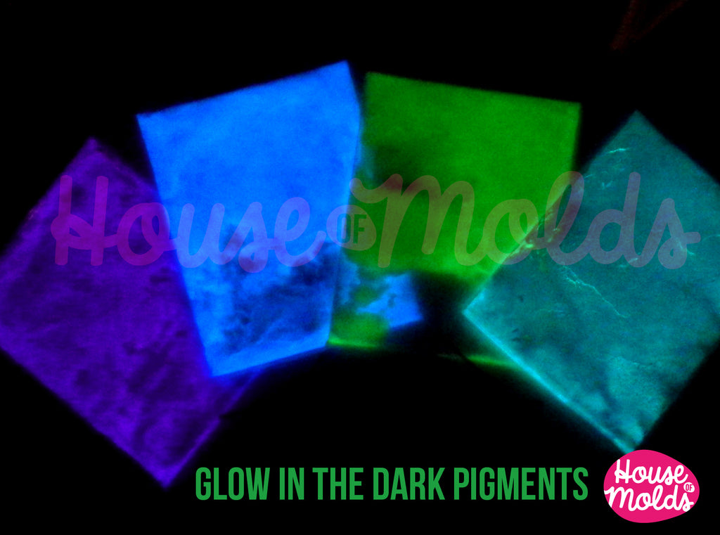 Glow in the dark Pigments for Resin Colour Kit of 4 -white in the light bright coloured in the dark--high glowing properties infinite combinations