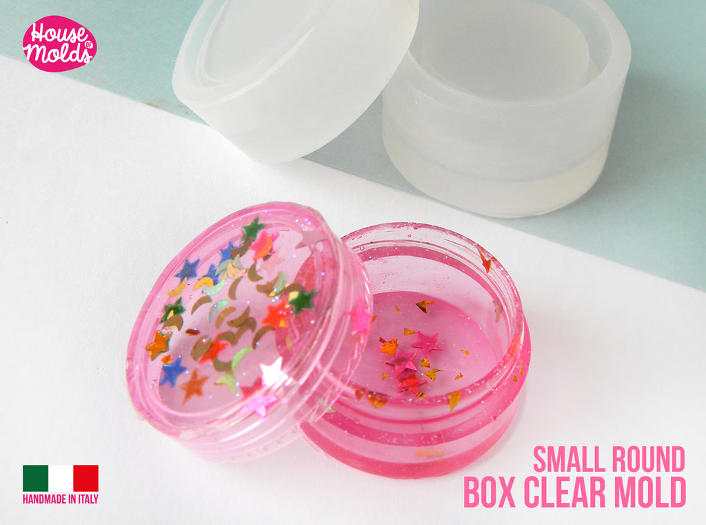 SMALL Round BOX Clear Molds Set - 30 mm diameter ( 1.18 inches diameter ) -super glossy resin reproductions -