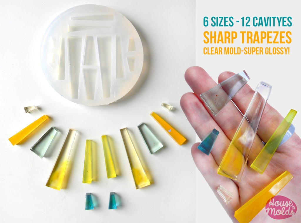 12 Cavityes SHARP TRAPEZES Clear Mold 5 sizes ,Mold to make resin collier,earrings, multiple pendants-very shiny surface super easy to use