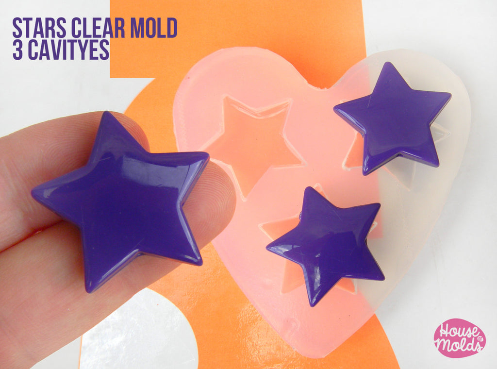Stars Shapes Clear Mold 27 mm x 29 mm  , transparent Mold  to make resin earrings or pendants- easy to use