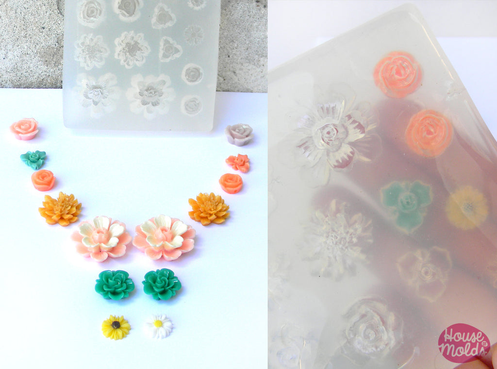 14 Flowers Clear Mold ,7 flowers styles,silicone Mold to make resin collier,earrings, multiple pendants-great results!