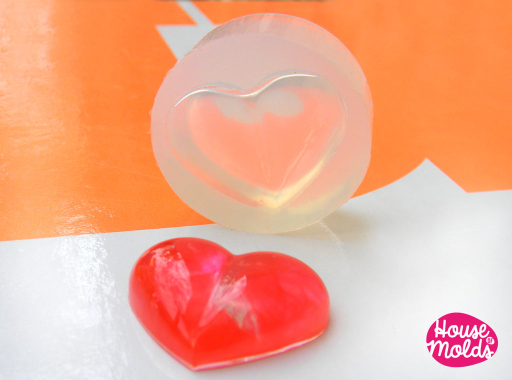 Puffed Heart Clear Silicone Mold - HOUSE OF MOLDS 24 mm x 29 mm pendant mold for resin,super shiny surface easy to use