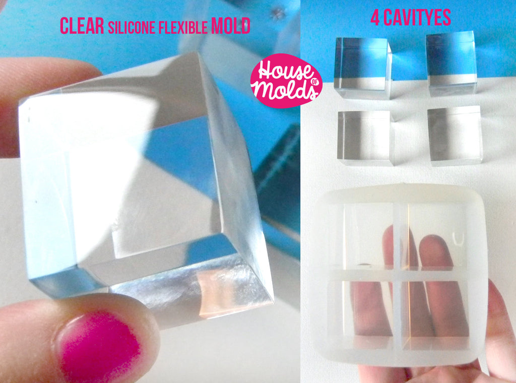 4 cavityes Multi Cubes Clear Mold - 3 cm x 2,7 cm Resin Cubes-HOUSE OF MOLDS-transparent mold super glossy results