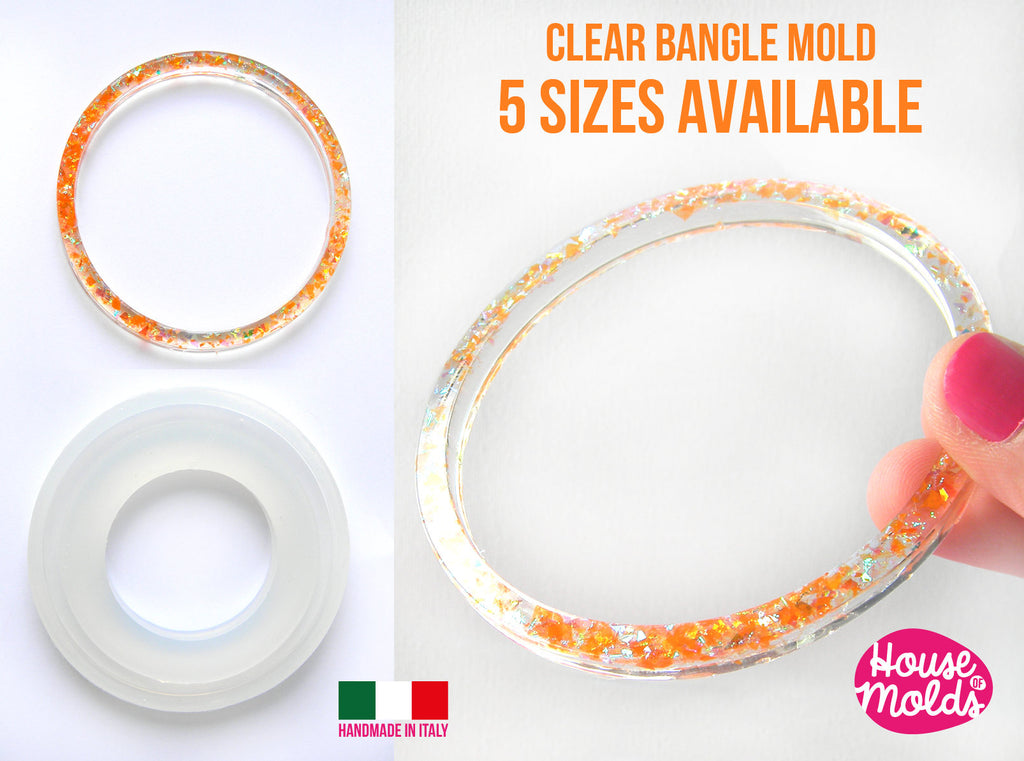 BOLOGNA Plain Bangle Clear Mold,resin bangle mold, 5 SIZES AVAILABLE ,super shiny results