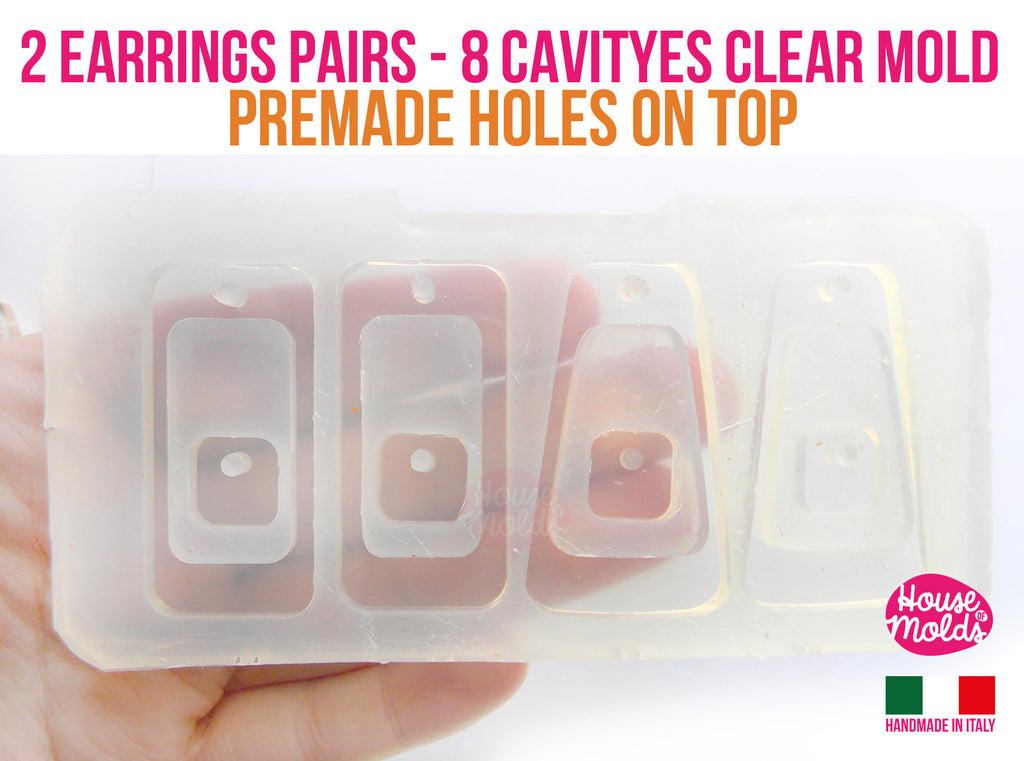 2 PAIRS OF  MOD EARRINGS  Clear Mold , Pre Made Holes on Top and 4 squared buttons -Transparent Mold to make earrings or pendants: super shiny