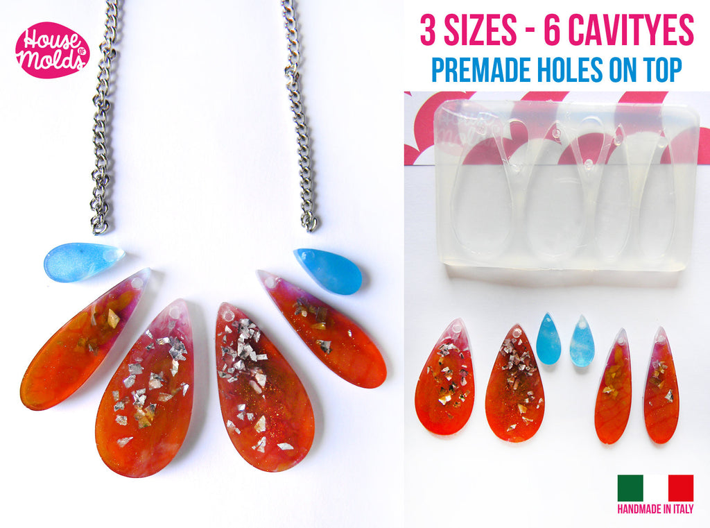 6 cavityes Drops Lover + premade holes on top Clear Flexible Silicone Mold- super glossy resin creations very shiny surface easy to use