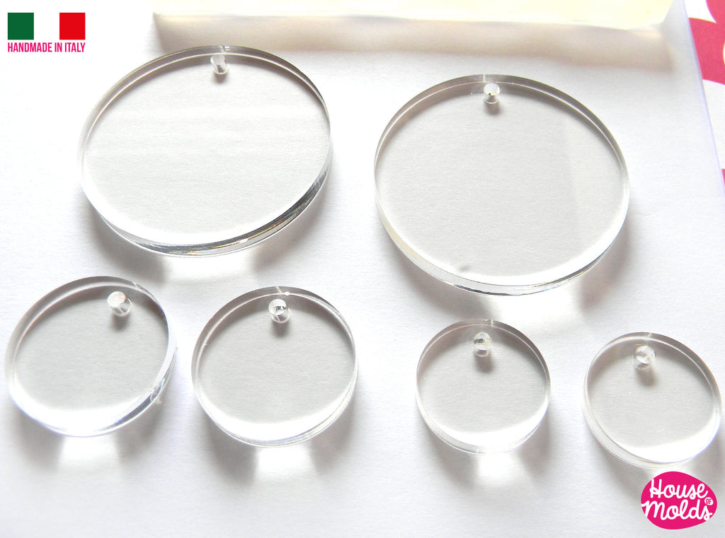 3 Sizes -Multisize Flat Circles+ premade hole on top Clear  Silicone Mold,  with 6 cavityes- perfect for any resin creations
