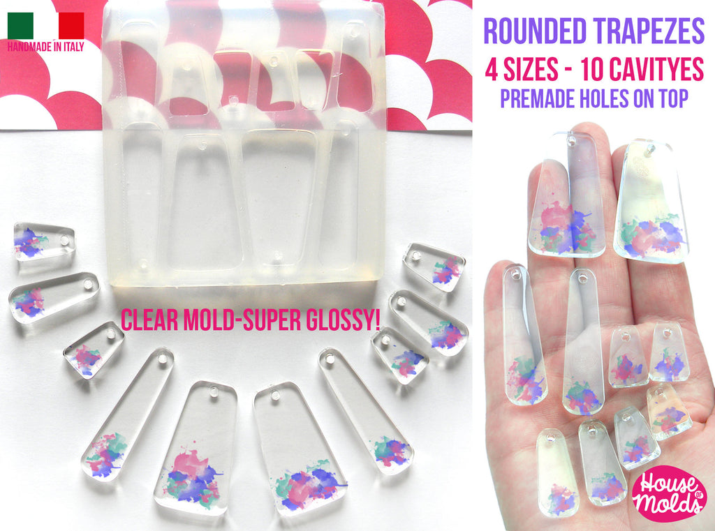 10 Rounded Trapezes Set + premade holes on top Clear Flexible Silicone Mold- super glossy resin creations very shiny surface easy to use