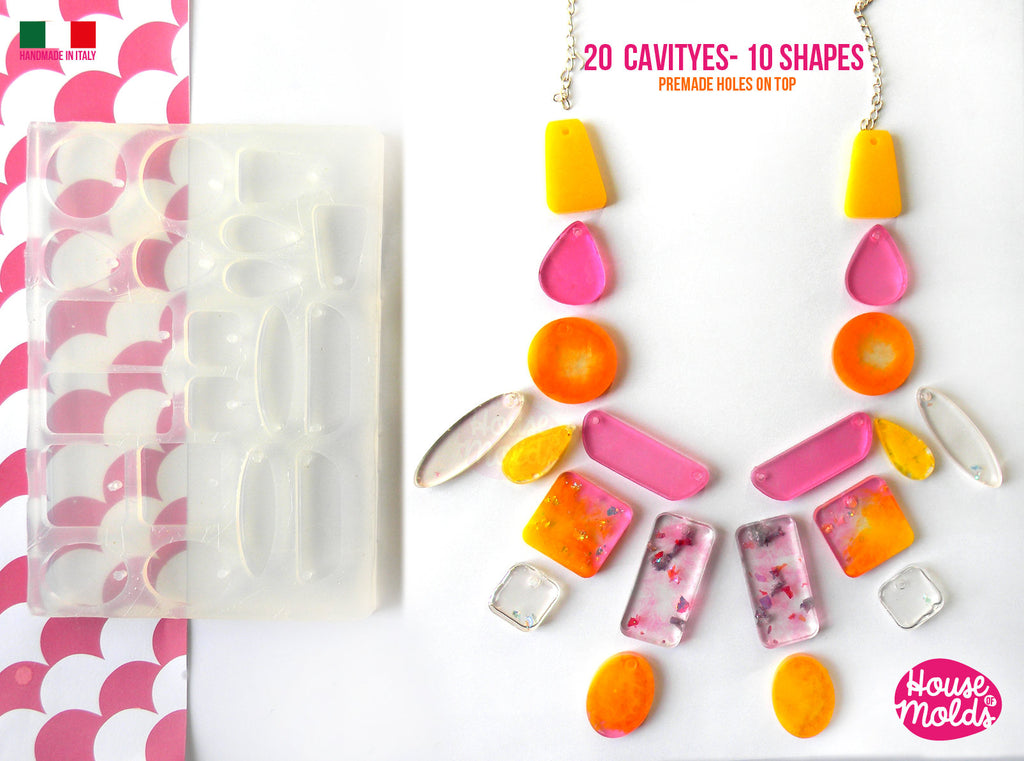 20 Cavityes Multi Shapes Big Clear Mold + premade holes on top silicone  Mold to make 10 shapes squares circles trapezes drops and many more