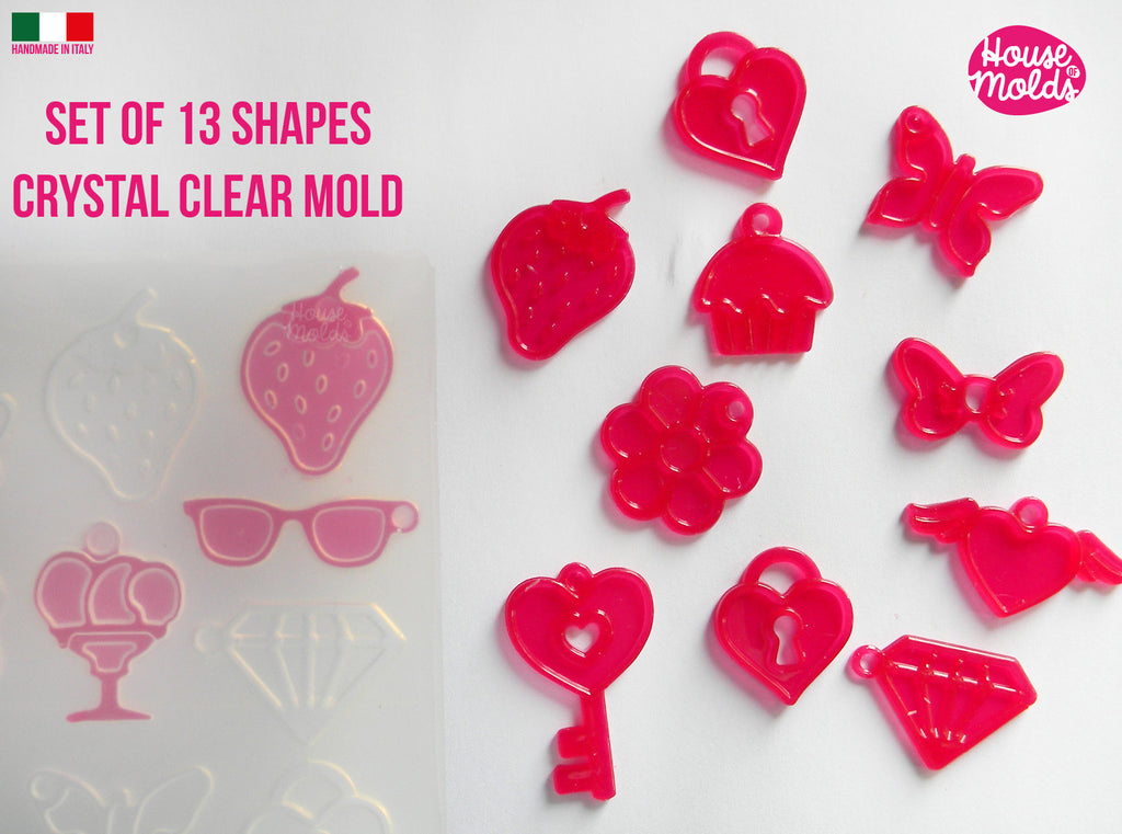 13 Cavityes Multi Shapes Clear Mold + premade holes  silicone Mold to make 13 kawaii shapes strawberry ,icecreams ,hearts ,cupcakes and more