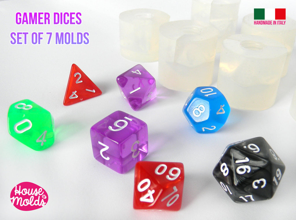 Gamer Dices Set of 7  Clear Silicone Molds - HOUSE OF MOLDS-7 Role Play dices with number engraved silicone clear molds,super shiny surface