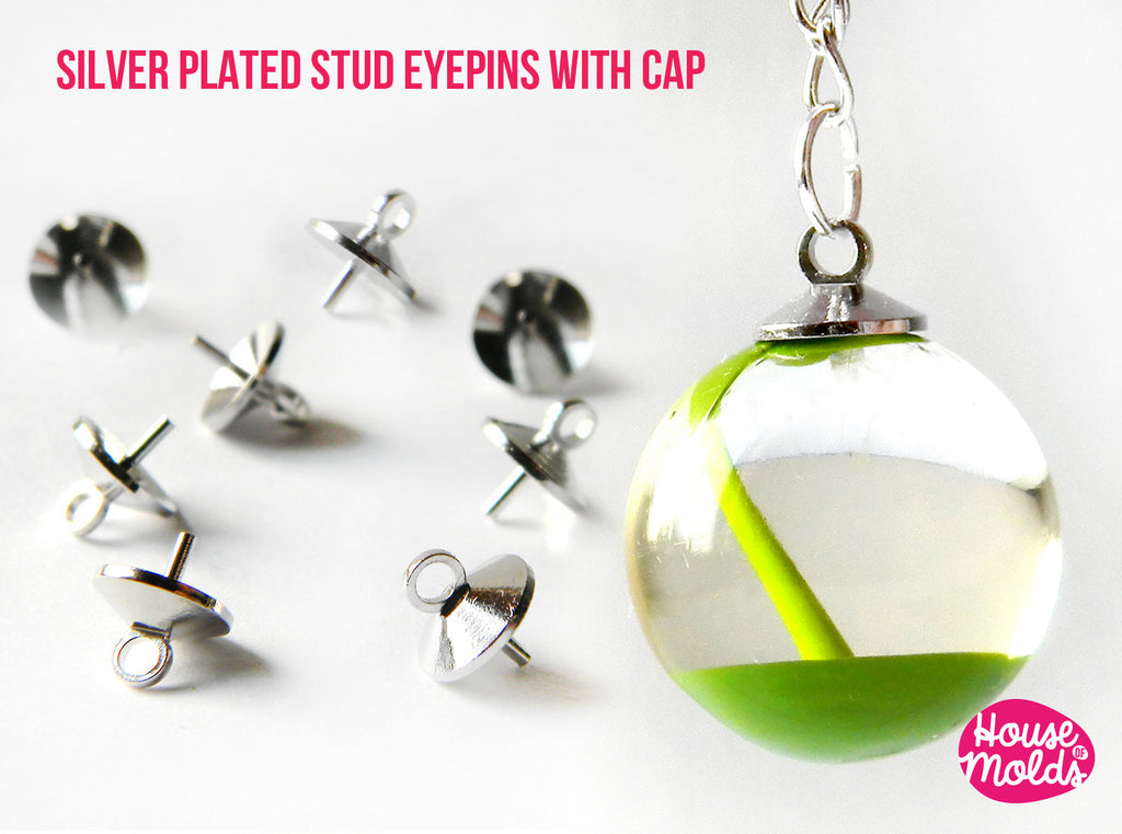 Silver Plated  Stud Eyepins with Cap-8 mm diameter-perfect for create your pendants or earrings!