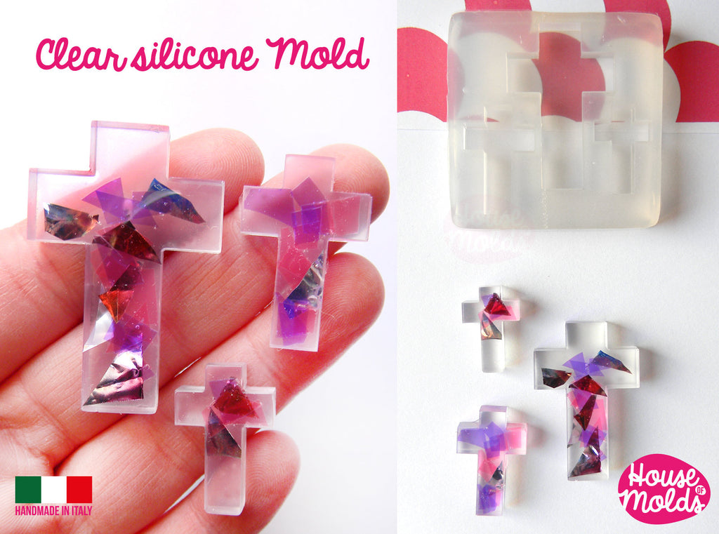 Plain Crosses Clear resin Mold, 3 sizes , very shiny  easy to use , house of molds design