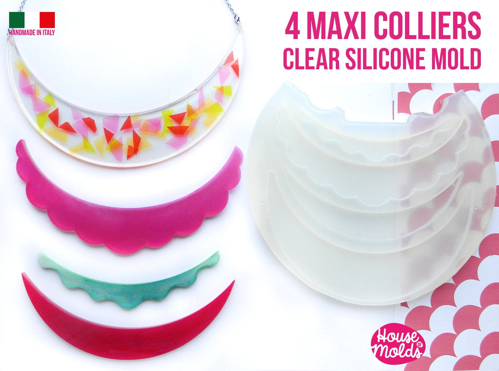 4 Maxi Colliers Clear Mold :2 half moon + 2 scalloped - Transparent Mold very shiny easy to use MADE IN ITALY
