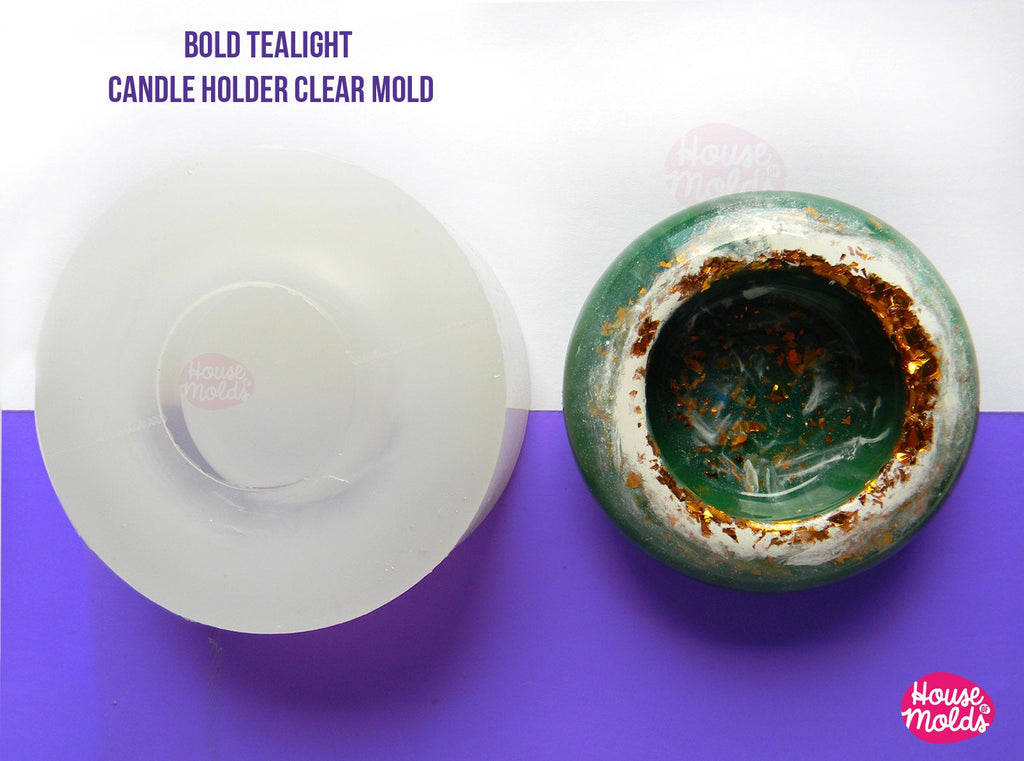 Chunky Bold Tea Light Candleholder Clear Mold - tiny plant vase, ring dish mold-72 mm diameter x 27 mm tall-super glossy resin reproduction