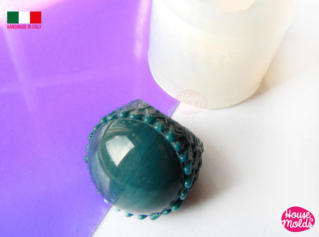 Dragon Egg Ring Clear Silicone Mold,transparent mold to cocktail ring ,super shiny surface special texture + smooth cabochon, house of molds