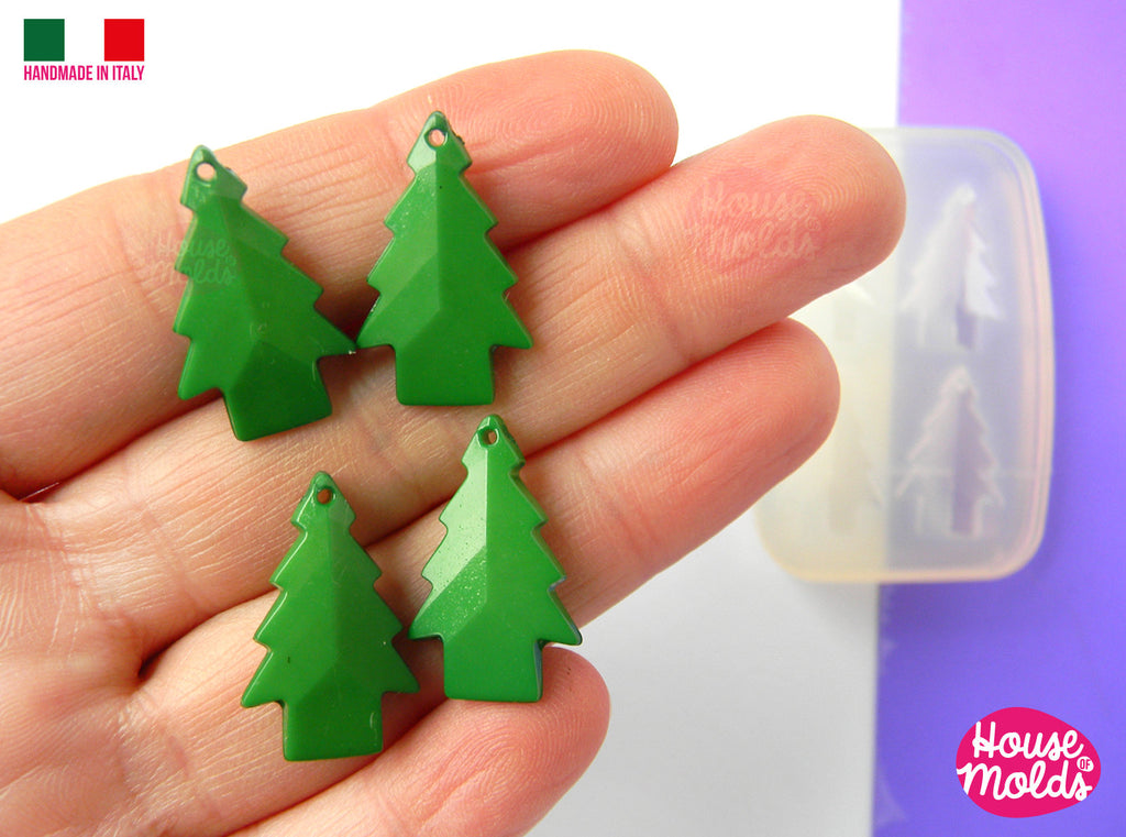 4 TINY FACETED TREES earrings Clear Mold , Pre Made Holes on Top - Transparent Mold to make earrings or pendants: super shiny