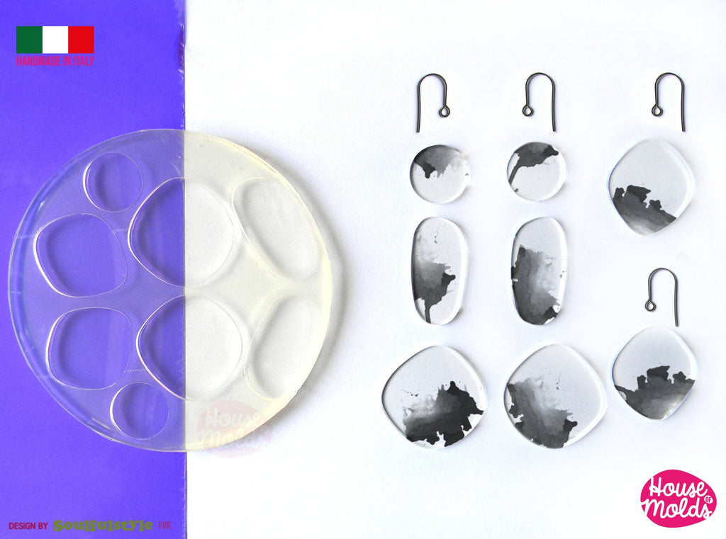 River Stones earrings set  Clear Mold , easy to use 8 Cavityes , Transparent Molds super shiny ! Soulfulstyle Design for House of molds