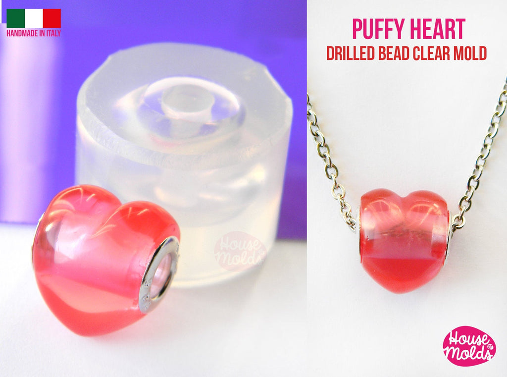 3D Heart Drilled bead Clear Mold , puffy heart bead 16 mm x 13 mm , thickness on center 13 mm , super shiny Special House of mold design